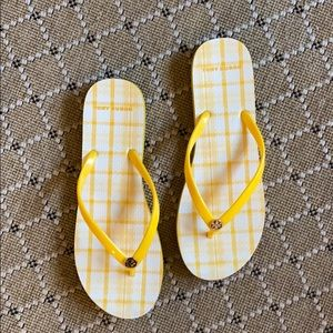Tory Burch yellow flip flops! Great condition!